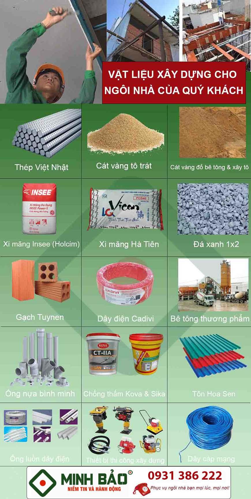 vật liệu xây dựng sửa nhà