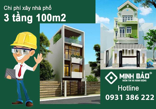 Chi phí xây nhà phố 3 tầng 100m2