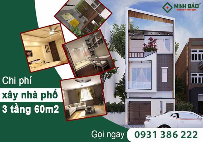 Chi phí xây nhà phố 3 tầng 60m2