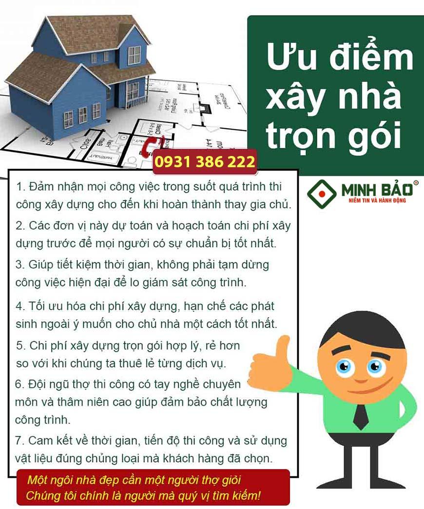 Ưu điểm của xây nhà trọn gói