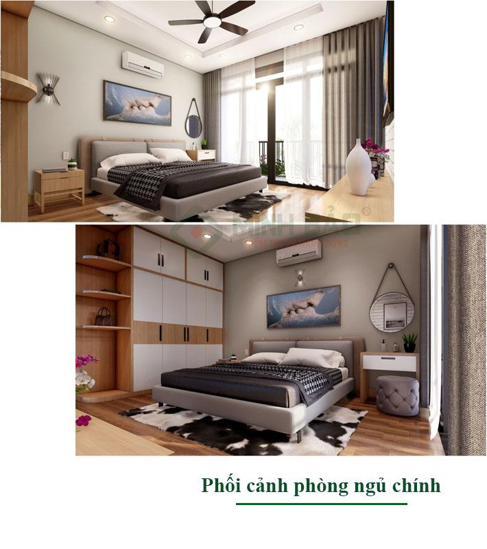 Phối cảnh nội thất phòng ngủ chính