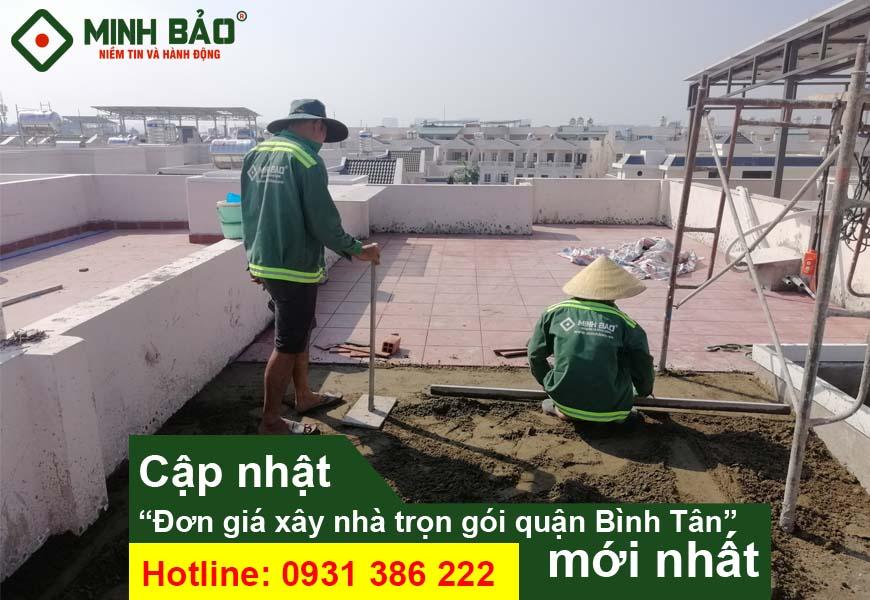 giá xây nhà quận Bình Tân