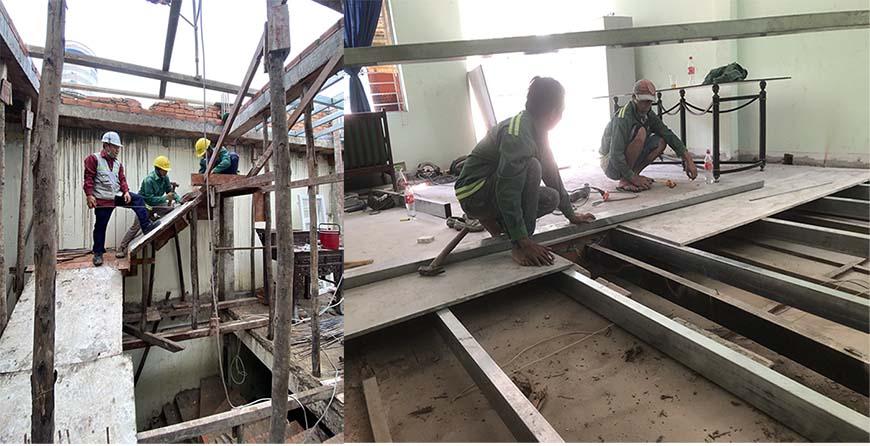 Công nhân Minh Bảo thi công sàn đúc giả