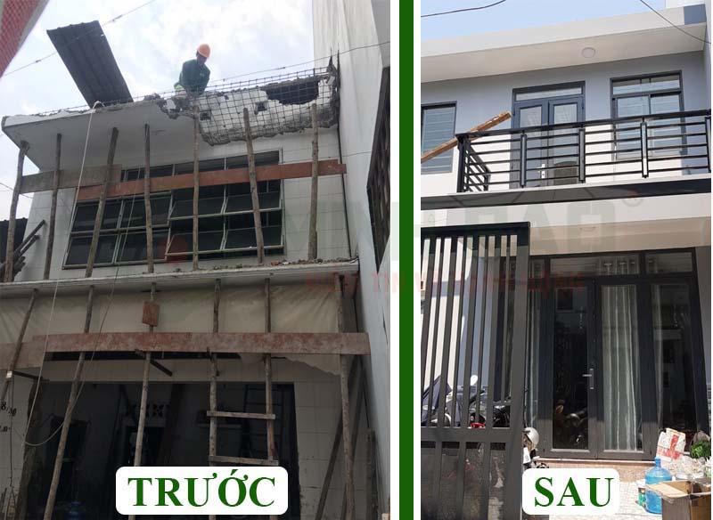 Hình ảnh ngôi nhà trước và sau khi xây dựng