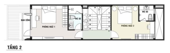 Mẫu thiết kế mặt bằng nhà 3 tầng 50m2