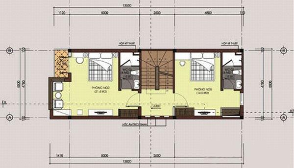 Mẫu thiết kế mặt bằng nhà 3 tầng 80m2