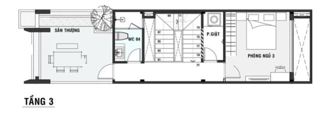 Thiết kế mặt bằng nhà 3 tầng 60m2