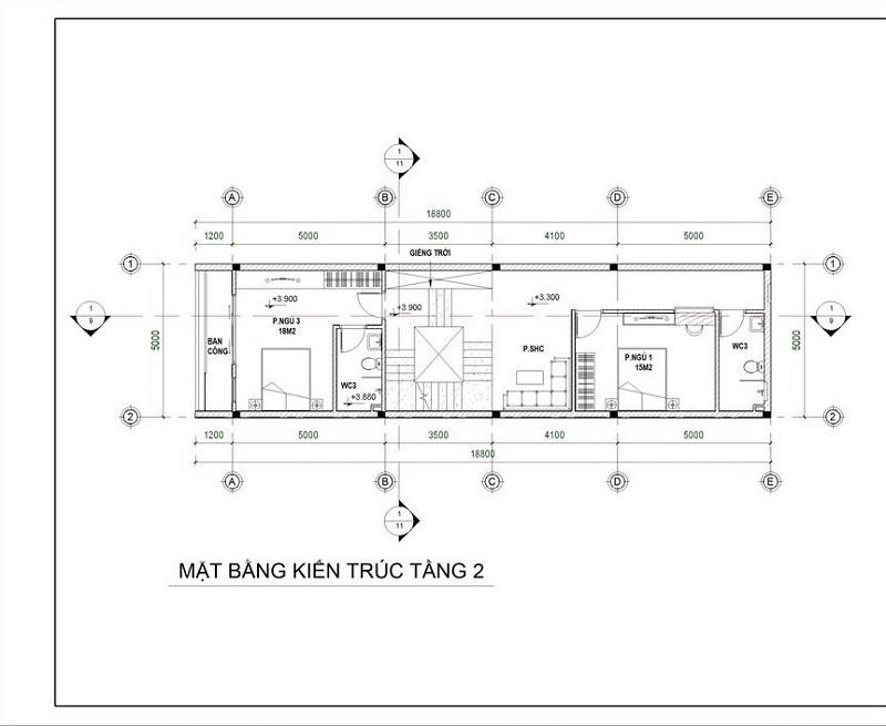 Bản vẽ 2D tầng 2